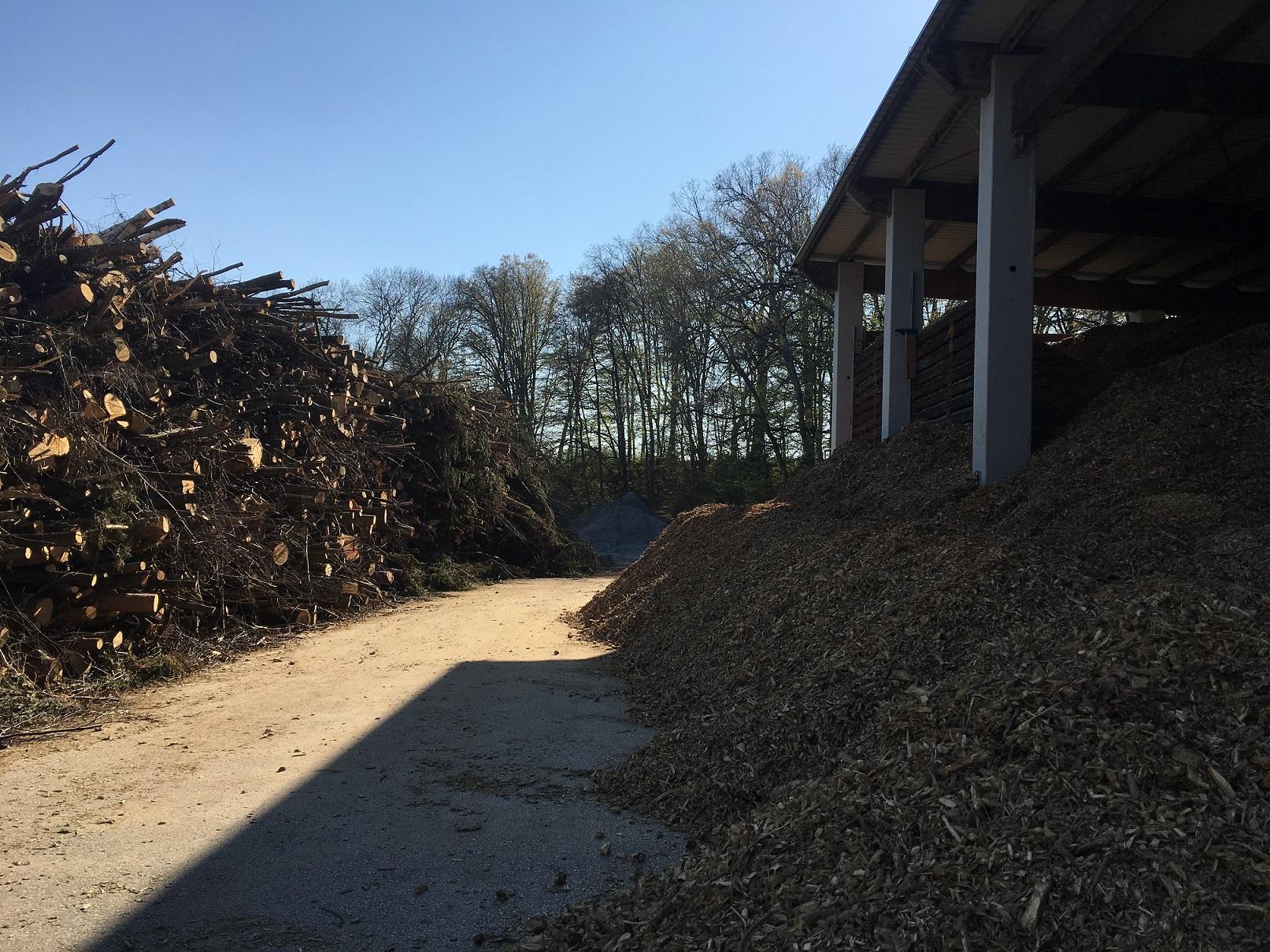 Biomasse Holzhaufen und Hackschnitzel in einem Lager